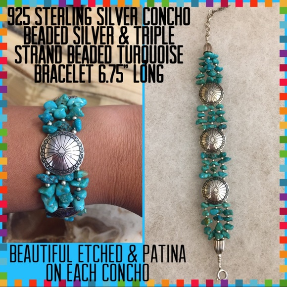 925 Sterling Silver Concho Turquoise Bracelet